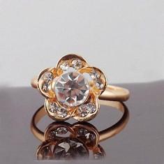 Superb inel 9k GOLD FILLED alb cu zircon CZ. Ajustabil - Inel placate cu aur
