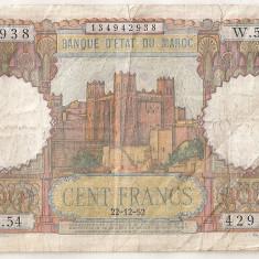MAROC 100 FRANCI FRANCS 1952 U - bancnota africa