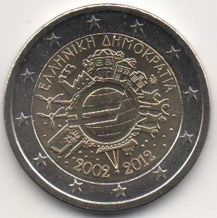 GRECIA 2 euro comemorativa 2012 TYE (10 ani euro) - UNC foto