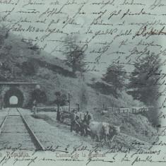 BUSTENI SALUTARI DIN ROMANIA TUNELUL DE LA BUSTENI CLASICA CIRC. 1900 - Carte Postala Muntenia pana la 1904, Circulata, Printata
