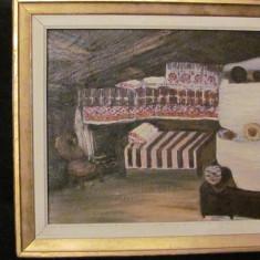 "PVM - Tablou vechi ""Interior Casa Taraneasca"" ulei pe panza semnat indescifrabil"