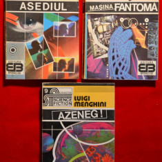Lot 3 carti SF-Asediul-Masina fantoma-Azeneg-Colectia Science Fiction 7, 8, 9 #121 - Carte SF