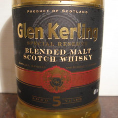 whisky glen kerling, blended malt scotch whisky, 5 years, cl 70 gr 40