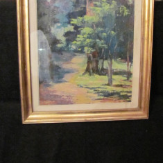 "PVM - Tablou ""Poteca prin Padure"" ulei / carton semnat Gavanescu (?) 1971 - Pictor roman, Peisaje, Realism"