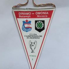 FANION DINAMO BUCURESTI-OMONIA NICOSIA TURUL I C.C.E. 19 SEPT.1984 - Fanion fotbal