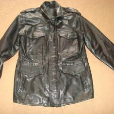 Geaca piele naturala, barbati, model PARKA militar/military/army/armata/vintage - Geaca barbati, Marime: L, Culoare: Negru
