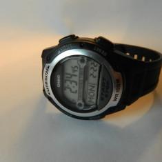 Ceas CASIO world time, iluminator alarma - Ceas barbatesc Casio, Sport, Quartz, Inox, Material textil, Cronograf