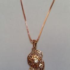 Superb lant + pandantiv suflat / placat cu aur de 9K rosu - Colier placate cu aur