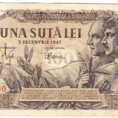 Bancnota 100 lei 5 decembrie 1947 (2) - Bancnota romaneasca