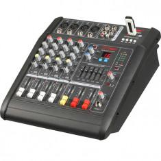 MIXER PROFESIONAL AMPLIFICAT, 200 WATT, 4 CANALE, MP3 USB, EFECTE VOCE, SUNET HI FI. - Mixer audio
