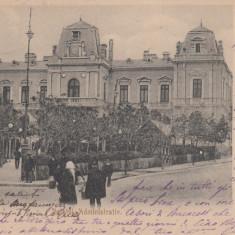 SLATINA, PALATUL ADMINISTRATIV, CLASICA, CIRCULATA 1905 - Carte Postala Oltenia pana la 1904, Printata