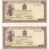 LOT 2 bancnote 500 lei 2 IV 1941 filigran vertical SERII F.APROPIATE a.UNC - Bancnota romaneasca