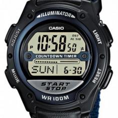 Ceas Casio W-756B-2A original, curea din nylon impletit - Ceas barbatesc Casio, Sport, Quartz, Material textil, Fusuri orare multiple, Electronic