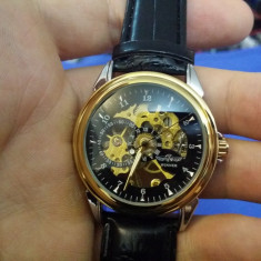 Ceas Mecanic - WINNER - Cadran Auriu, Barbatesc, Casual, Skeleton