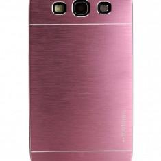 Husa pelicula aluminiu MOTOMO roz - pink Samsung Galaxy S3 i9300 + folie ecran - Husa Telefon Samsung, Negru, Metal / Aluminiu, Carcasa