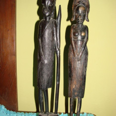 Doua statuete  din lemn de abanos, arta africana (3)