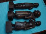 Impresionante trei statuete din lemn esenta exotica  de teac, Africa