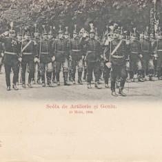 MILITARE MILITARA SCOALA DE ARTILERIE SI GENIU. 10 MAIU, 1900. COLECTIA SPADA - Carte postala tematica, Necirculata, Printata