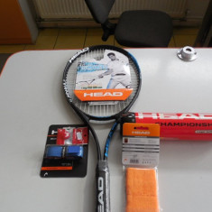SET HEAD TENIS CAMP RACHETA, GRIP, VIBRASTOP, MINGI SI SET MANSETE - Racheta tenis de camp Head, Comerciala, Adulti, Aluminiu/Carbon