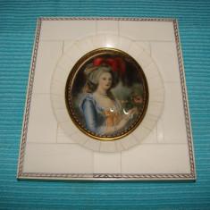 Raritate !!! Pictura de secol 19 incadrata intr-o rama din  FILDES, Portrete, Acrilic, Realism