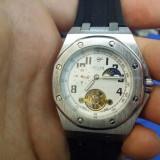 Ceas Mecanic / Automatic - FECHI - Turbillon, Barbatesc, Curea Silicon, - Ceas barbatesc, Cauciuc, Fazele lunii, Nou
