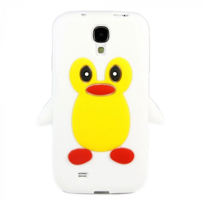 Husa silicon pinguin alb Samsung Galaxy S4 i9500 i9505 + folie ecran foto mare