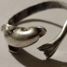Inel argint Delfin reglabil Vechi executat manual in detalii superbe Vintage
