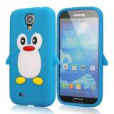 Husa silicon pinguin blue bleu Samsung Galaxy S4 i9500 i9505 + folie ecran - Husa Telefon Samsung, Verde