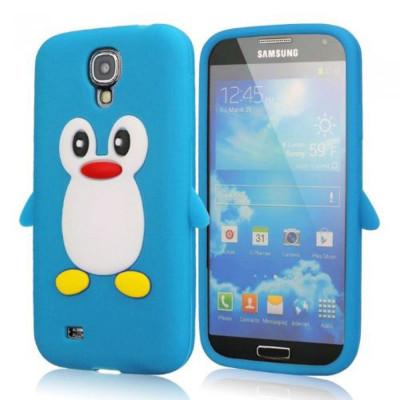 Husa silicon pinguin blue bleu Samsung Galaxy S4 i9500 i9505 + folie ecran foto