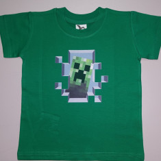 Tricou Minecraft T-Shirt Creeper inside !!! 4-5 ani + CADOU BRATARA, Marime: YXS, Culoare: Verde