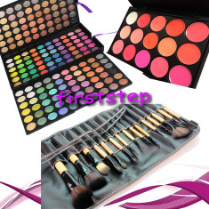 Trusa machiaj profesionala 180 culori MAC + 15 pensule make up + Paleta rujuri - Trusa make up