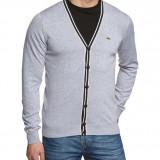 Lacoste Men's Plain Button Front Long Sleeve Cardigan, Grey M - Pulover barbati, Marime: M, Culoare: Din imagine