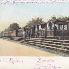 SALUTARI DIN ROMANIA, CONSTANTA, TRENUL SPRE VII, CIRCULATA MAR. 906 - Carte Postala Dobrogea pana la 1904, Printata