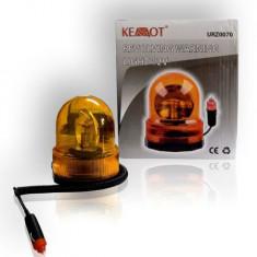 Girofar lumina portocalie rotativa 12V sau 24V fixare cu magnet - Girofar Auto