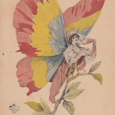 ROMANIA, ROUMANIE, ROUMANIA, FEMEIE FLUTURE TRICOLOR - Carte postala tematica, Necirculata, Printata