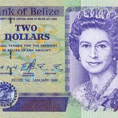 BELIZE █ bancnota █ 2 Dollars █ 1999 █ P-60a █ UNC █ necirculata - bancnota america