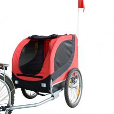 Remorca de bicicleta pentru transportatul cainilor, rosie - Geanta si cusca transport animal