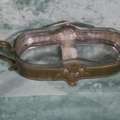 VAS DECOR-BRONZ SI STICLA-VECHI-ORIGINAL - Fructiera sticla