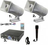 SISTEM PROFESIONAL 2 MEGAFOANE AUTO CU STATIE USB,MICROFON,80 WATT PUTERE,NOU.