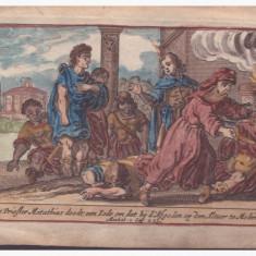 Scena alegorica religioasa, Gravura colorata - Pictor roman