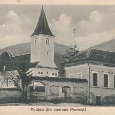 VEDERE DIN COMUNA PORCESTI, FOTOGRAF STEFAN ANDREI, PORCESTI - Carte Postala Moldova dupa 1918, Necirculata, Printata