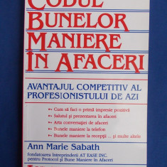 ANN MARIE SABATH - CODUL BUNELOR MANIERE IN AFACERI - 2000 * - Carte de vanzari