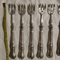 Set Argint 6 Furculite vechi marcaje vechi Cap Barbat multiple Rar de Colectie, Tacamuri