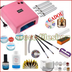 KIT Unghii false Sina GEL SET MANICHIURA LAMPA UV 36W