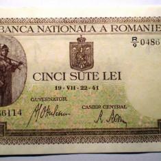 95. ROMANIA 500 LEI 1941 SERII CONSECUTIVE AUNC SR. 114-115 BNR ORIZONTAL - Bancnota romaneasca