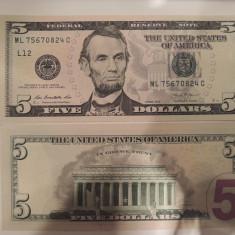 SV * SUA Statele Unite FIVE DOLLARS / 5 DOLARI 2013 AUNC+ - bancnota america