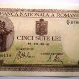 94. ROMANIA 500 LEI 1941 SERII CONSECUTIVE AUNC SR. 116-117 BNR ORIZONTAL - Bancnota romaneasca