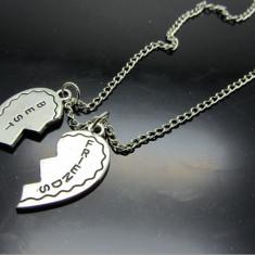 Pandantiv / Colier / Lantisor - BFF / Best Friends Forever - Inima Argintiu