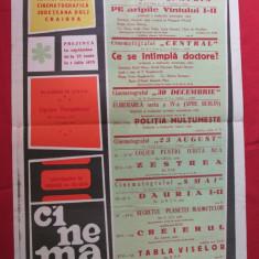 Afis cinema perioada comunista 1973, program saptamanal cinematografe Craiova