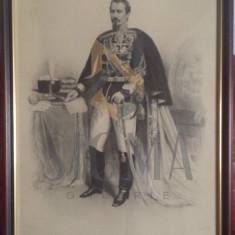 Tablou CUZA VODA ( Al. I. Cuza ) - Litografie LEMERCIER dupa Carol Popp de Szathmary, Wiena - sec XIX, 75 x 56 cm - Pictor roman